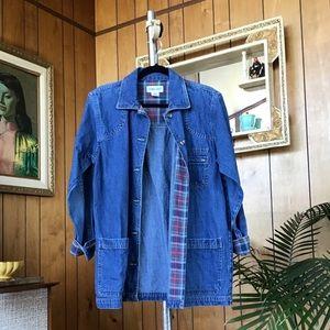 Vintage Cabin Creek Denim and Plaid Utility Jacket